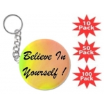 Believe In Yourself Rainbow Round Key Chain Multi-Packs